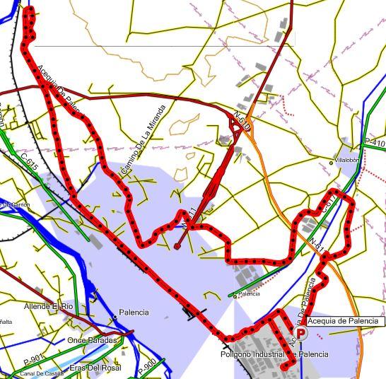 Mapa de la ruta por la acequia de Palencia hacia el noroeste