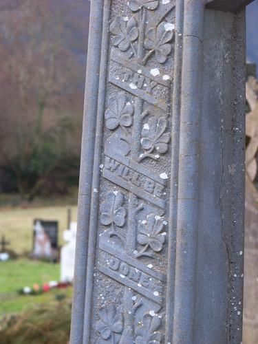 Shamrock detail on tombstone at Glendalough