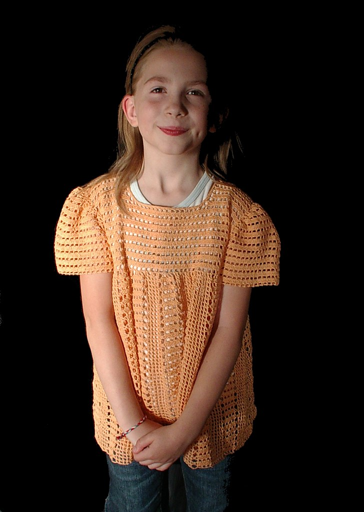 image 2 orange crochet shirt