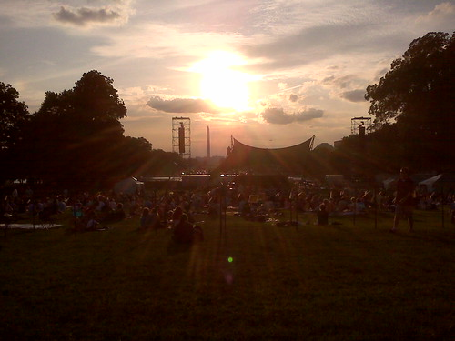 Sitting on the west lawn of the Capitol waiting for the NSO concert to begin.