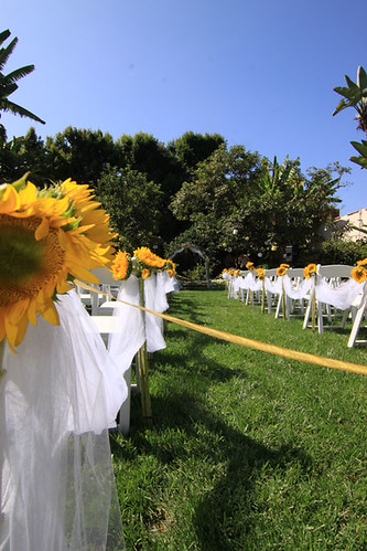 Sunflower ceremony aisle decor