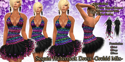 Sequin Halterneck Dress (Orchid)