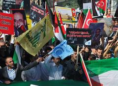 Hizbullah bayrakları Beyazıtta dalgalandı
