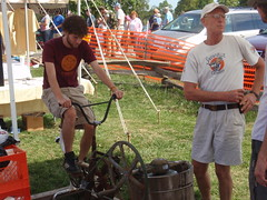 Warren Taylor (wearing hat) from Snowville Creamery with his infamous pedal powered ice cream maker