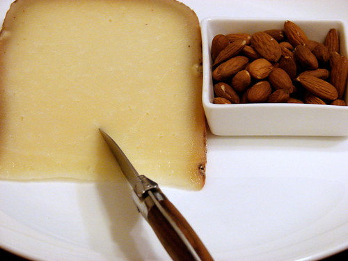 Ossau Iraty, raw almonds