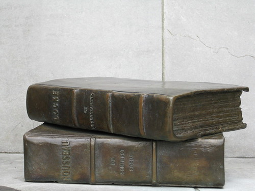 Bronze Books from the statue to the man who wrote the Constitution (I cant remember his name but think it might be James Mason?)