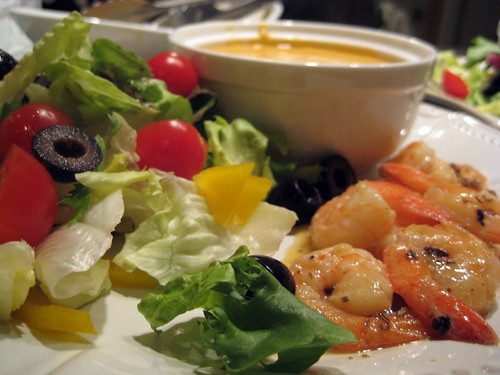 Spicy Rosemary Shrimp with Lobster Bisque and Salad