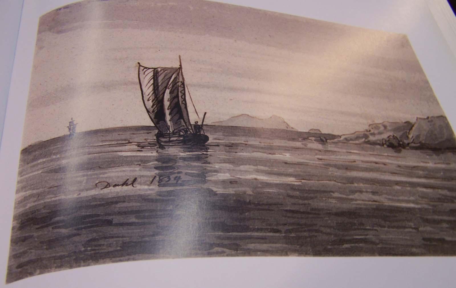 Johan Christian Clausen Dahl, Meeresküste mit Schiffen, 1834