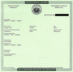 Barack Hussein Obama II birth certificate