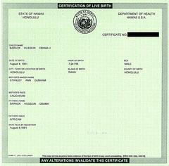 Barack Hussein Obama II birth certificate