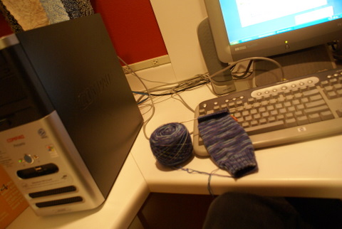 knitting socks while waiting for computer #1