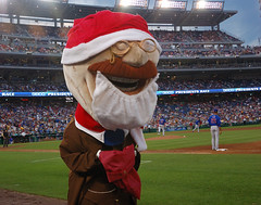 Washington Nationals racing president Teddy Roosevelt dresses as Santa Claus for Christmas in July