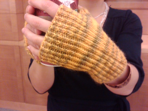 Yellow fingerless mitts back