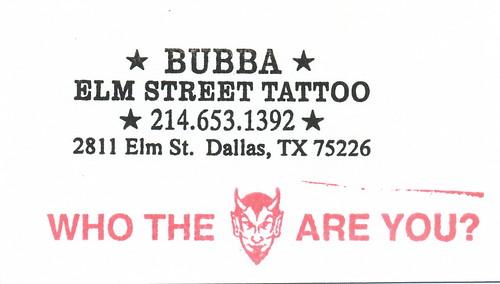 Bubba - Elm Street Tattoo - Artist Business Card by HeadOvMetal