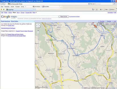 19.08.2009 - Google Maps und Google StreetView: Von Zürich bis Oberlunkhofen (1/2)