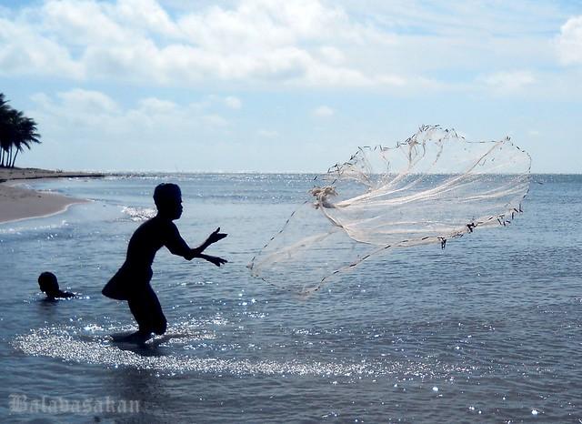 Fisher man in kovalam seashore , Karainakar