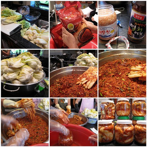 montage of kimchi-making class