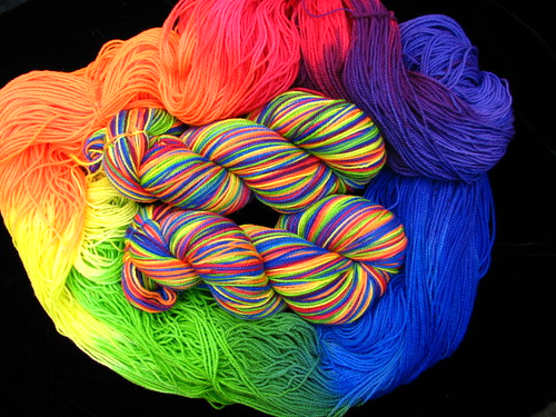 Rainbow - Hand Dyed Tiger Twist Sock Yarn