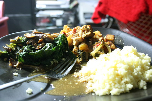Leftover Pineapple Tofu Curry with Couscous and leftover Spinach with Mushrooms