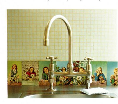 the estate of things chooses vintage postcard backsplash