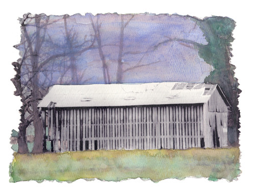 No Trespassing watercolored barn photo   (c) Lynne Medsker