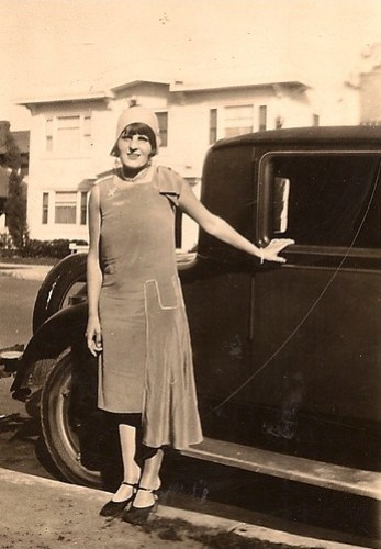 Woman with car, 1920's