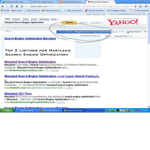 Maryland SEO in Yahoo 08-07-2009