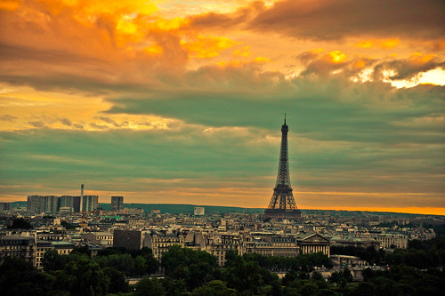 Paris at sunset with the Eiffel Tower
