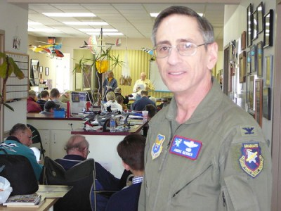 Andre Gerner, former Commandant of the USAF Test Pilot School at Edwards Air Force Base, spoke at the Skyline Soaring Club annual safety meeting on Feb. 7 Gerner also lauded the role of glider flying in developing general aviation skills. Photo by Roger Bianchini.