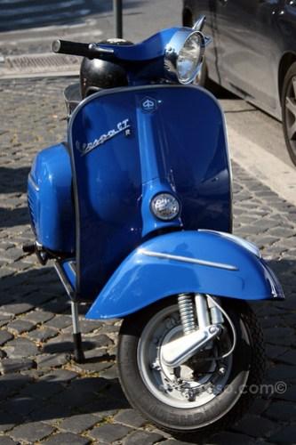 Bright Blue Vespa in Rome, Italy