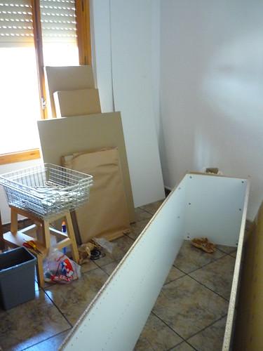 Assembling an Ikea wardrobe