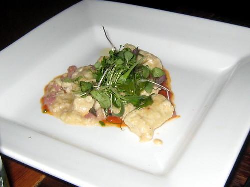 Ricotta Parmesan Gnocchi, tomato & piquillo pepper sauce, pancetta, pesto
