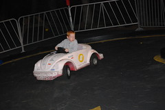 Jacob in his own little go kart.  Such concentration!