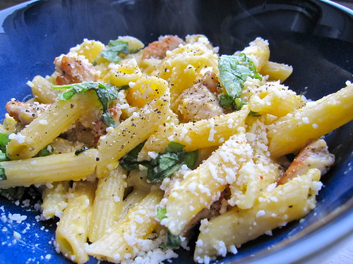 butternut squash penne pasta with basil and grilled chicken
