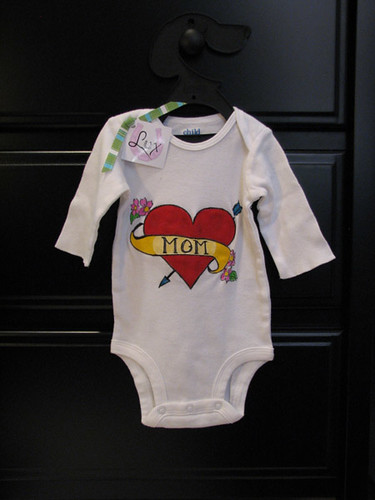 "hand painted ""Mom"" heart tattoo style design baby onesie- unisex design"