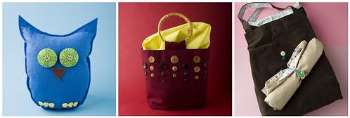 Big-Eyed Owl, Button Sampler Tote, Spring Roll Delight Market Bag