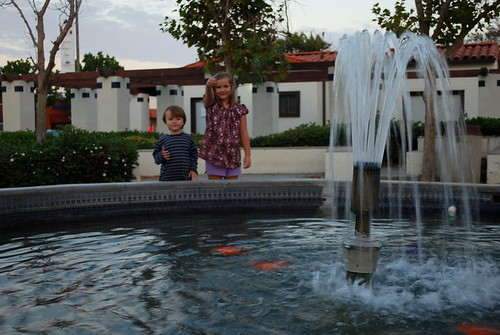 my kids and the fountain