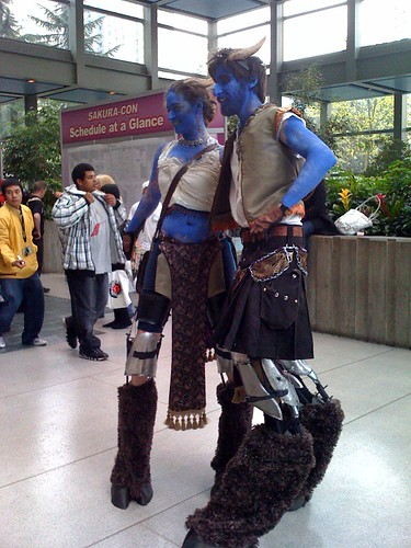 A couple of anime stilt walkers at SakuraCon