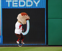 Washington Nationals racing president Teddy Roosevelt races on a unicycle