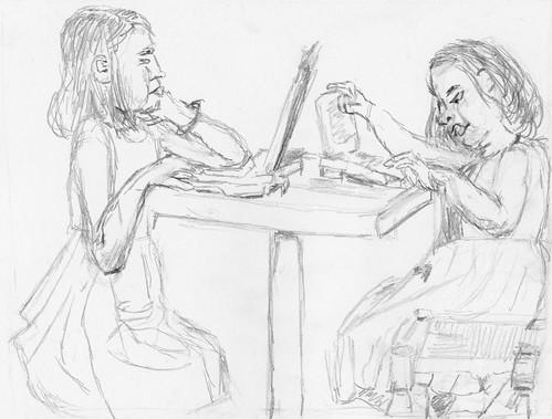 Two little girls computing