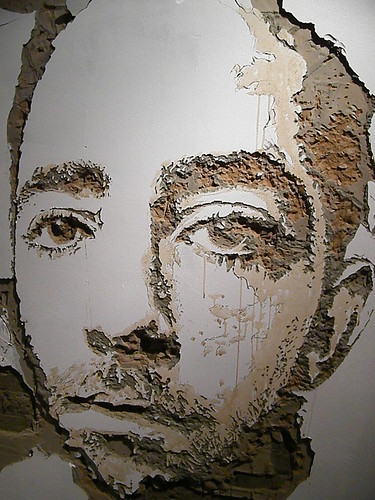 Vhils Scratching the surface show at Lazarides London