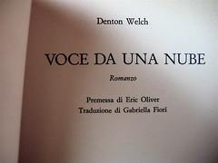 Denton Welch, Voce da una nube, Mondadori 1971, frontespizio (part.)