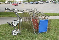 A shopping cart and a parking lot