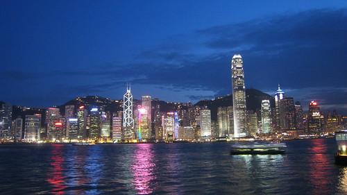 Night shot of the island (Hong Kong)