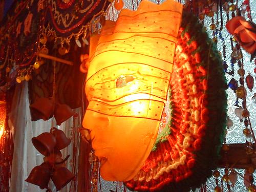 mask lamp at cafe juanita