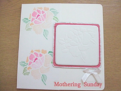card i made for Mum. This uses embossing and stencilling techniques, from the same stencil, and some stickers from papermania.