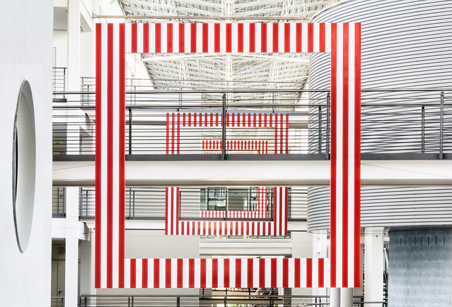 Three Frames with Red and White Stripes