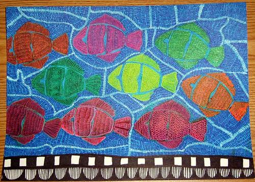 Van Gogh Technique Multicolour Fish