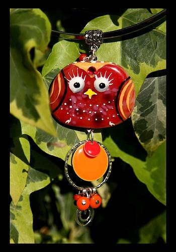 BINDI BIRD Fused glass pendant by Sandra Miller