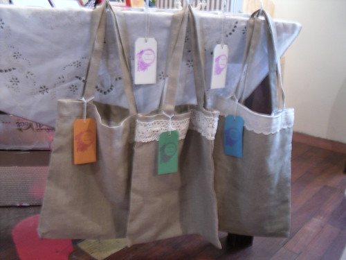 linen bags with recycled vintage pillowcases for inserts by you.
